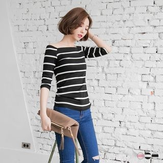 Striped Boat Neck Top 1053787269