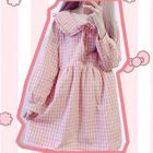 Plaid Long-Sleeve Collared Dress 1596