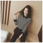 Stripe Collared Top 1596