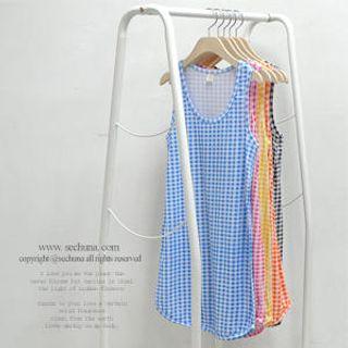 Buy Sechuna Sleeveless Gingham Dress 1022767821