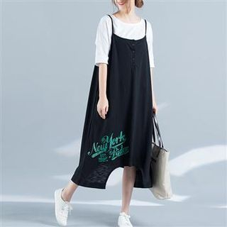 Spaghetti Strap Lettering Dress 1059850901