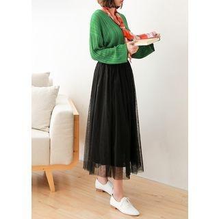 Band-Waist Long Tulle Skirt 1058345452