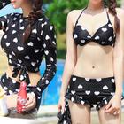 Set: Heart Print Bikini + Short Sleeve Tankini + Outdoor Gloves 1596