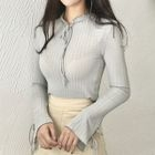 Long-Sleeve Ruffled Bow-Accent Top 1596