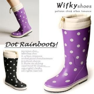 Picture of Wifky Polka Dot Rubber Rain Boots 1022577777 (Boots, Wifky Shoes, Korea Shoes, Womens Shoes, Womens Boots)
