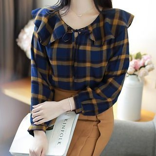 Image For Tie-Neck Capelet Checked Blouse