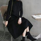 Hand Made Sleeveless Wool Blend Long Flare Dress 1596