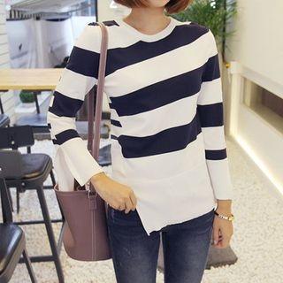 Slit-Sleeve Color-Block Knit Top 1053039094