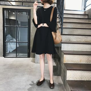 Image of 3/4 Sleeve Plain Dress