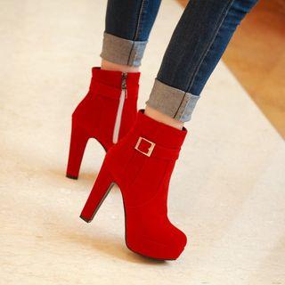 Platform Buckled Heeled Ankle Boots