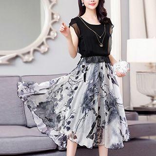 Printed Midi Silk Dress