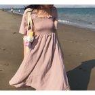 Short-Sleeve Tie Waist A-Line Dress 1596