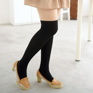 Two-Tone Tights Black and Nude - One Size 1034066491