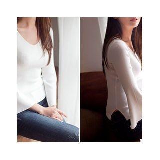 V-Neck Slit-Sleeve Knit Top 1053643995