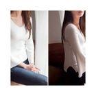 V-Neck Slit-Sleeve Knit Top 1596