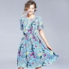 Short-Sleeve Tied Floral Dress 1596