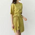Wrap-Front Tie-Waist Linen Dress 1596