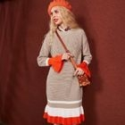 Long-Sleeve Contrast-Color Knit Dress 1596