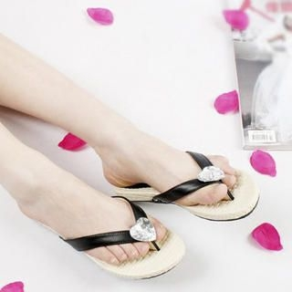 "Buy KAWO Rhinestone ""Heart"" Thong Sandals 1022917837"