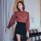 Mandarin-Collar Lace-Trim Blouse 1596