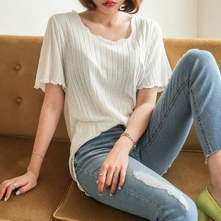 Short-Sleeve Ribbed Top 1059632399