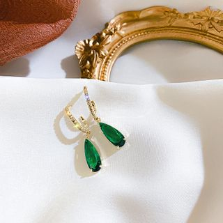 Image of Gemstone Dangle Earring 1 Pair - Green & Gold - One Size