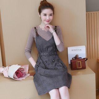Set: Plain Long Sleeve Knit Top + Plaid Pinafore Dress 1064479172