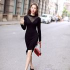 Long-Sleeve Ruffled Knit Dress 1596