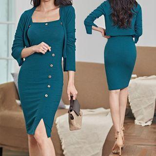 Sleeveless | Cardigan | Dress | Blue | Mini | Size | One