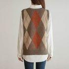 Sleeveless Argyle Wool Blend Knit Top 1596