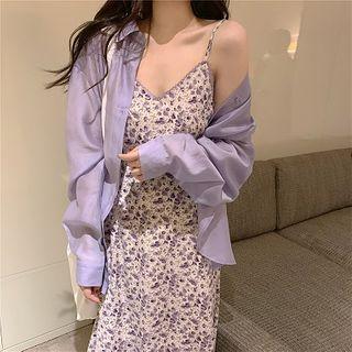Long-sleeve | Spaghetti | Floral | Sheer | Strap | Shirt | Dress