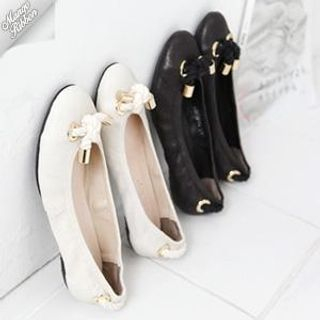 Picture of Mango Ribbon Genuine Leather Flats 1022969192 (Flat Shoes, Mango Ribbon Shoes, Korea Shoes, Womens Shoes, Womens Flat Shoes)