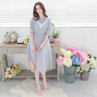 Lace-Panel Maxi Dress 1050886268