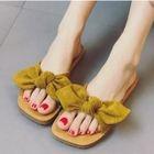 Bow Faux-Suede Flat Slide Sandals 1596