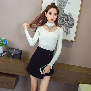 Rib Knit Top with Rhinestone Choker 1056472888