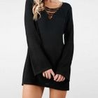 Lace Up Front Sweater Dress 1596
