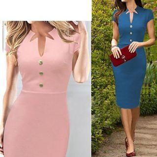 Short-Sleeve V-neck Sheath Dress 1051013260