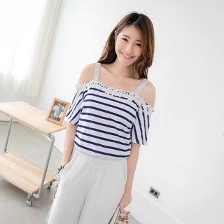 Crochet-Trim Striped Cutaway-Shoulder Top 1053349028