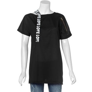 One-Shoulder Typography T-Shirt Black - One Size 1050753877