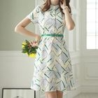 Printed Stand Collar Short Sleeve Ruffle Hem Dress 1596