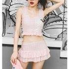 Set: Gingham Bikini Top + Swim Skirt 1596