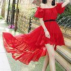 Off-Shoulder Dip-Back A-Line Dress 1596