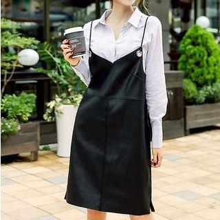 Faux Leather Spaghetti Strap Pinafore Dress 1055093883