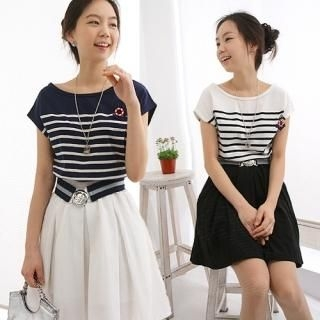 Buy CLICK Set: Striped Mock Two-Piece Dress + Brooch 1022520700
