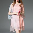 Short-Sleeve Slit-Back Layered Dress 1596