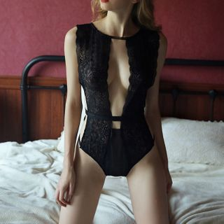Image of Lace Lingerie Bodysuit Bodysuit - Black - One Size