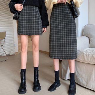 Plaid A-line Skirt / Midi Skirt