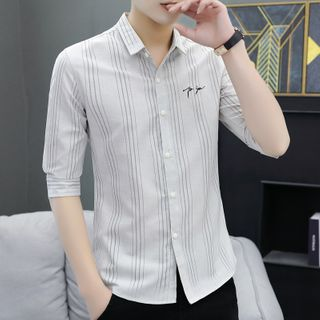 Image of Elbow-Sleeve Letter Embroidered Striped Shirt