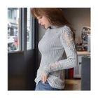Turtle-Neck Lace-Trim Knit Top 1596
