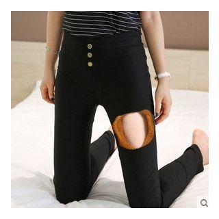 Fleece-Lined Skinny Pants Black - S